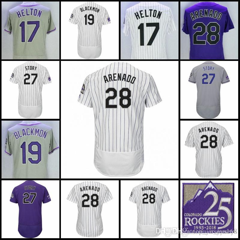 lowest price eeb2c b86df Men Women Youth Nolan Arenado 25TH season Patch Todd Helton Charlie  Blackmon Trevor Story Colorado Jerseys White Pinstripe Baseball Jersey