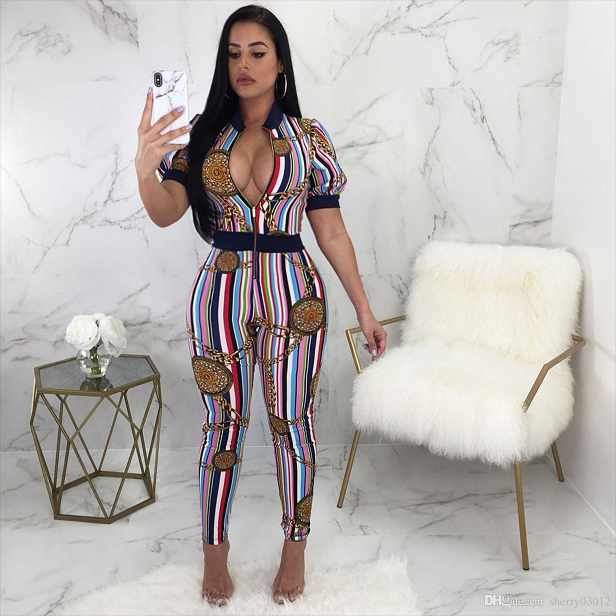 c063f74ed384 2019 HISIMPLE Sexy Women Chain Colorful Print Jumpsuit 2018 Summer Fashion  Short Sleeve Front Zipper Long Jumpsuit Skinny Rompers Party Club Wear From  ...