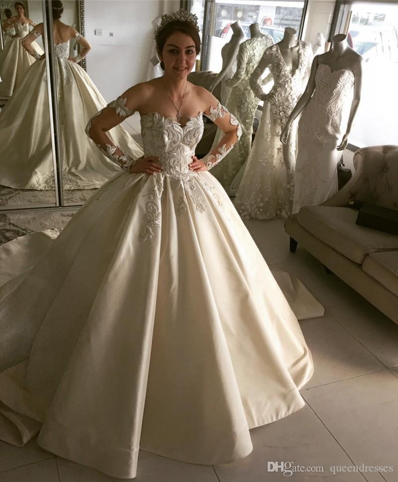 Vintage White Wedding Dresses With Lace Long Sleeve Off Shoulder A Line Satin Wedding Gowns Bridal Dresses Vestidos de Novia Custom Made