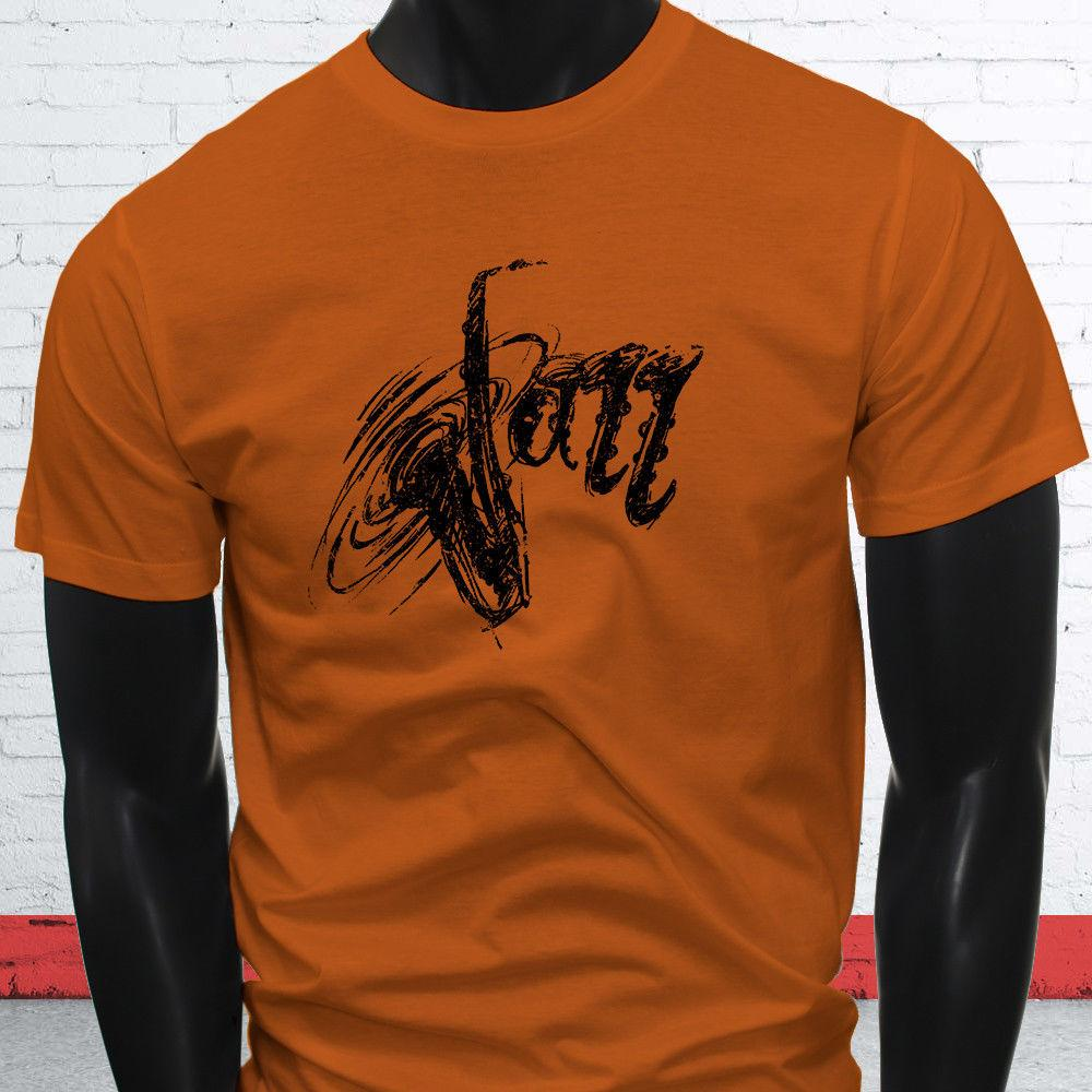 0d50a597 DISTRESSED JAZZ SAXOPHONE BLACK MUSIC SAX PLAYER Mens Orange T Shirt Funny  Unisex Casual Gift Novelty Tee Shirts Awesome Shirt Designs From  Lukehappy12, ...