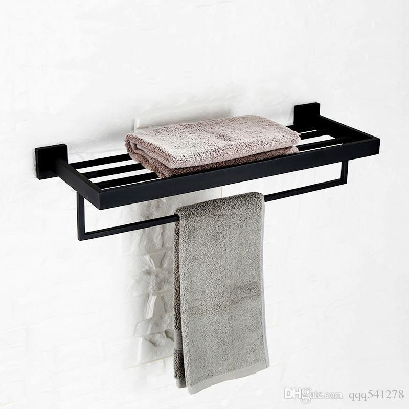 Großhandel Schwarz Bad Handtuchhalter Doppeldeck Wand Handtuchhalter