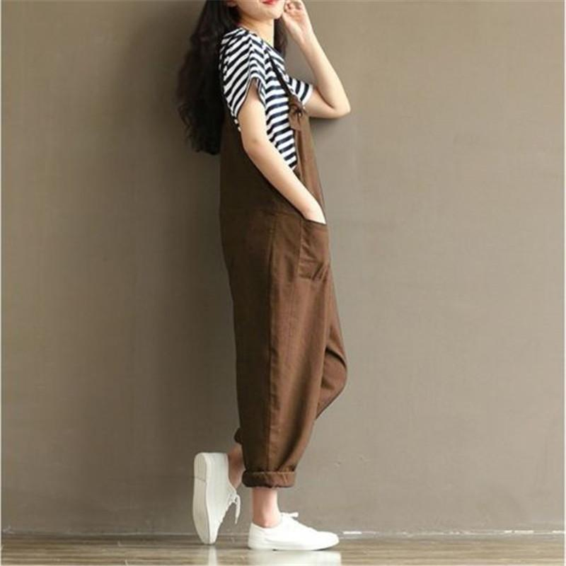 Womens Retro Spaghetti Strap Buttons Jeans 2017 Wide Leg Harem Pants Denim Blue Overalls Rompers Casual Loose Solid Jumpsuits