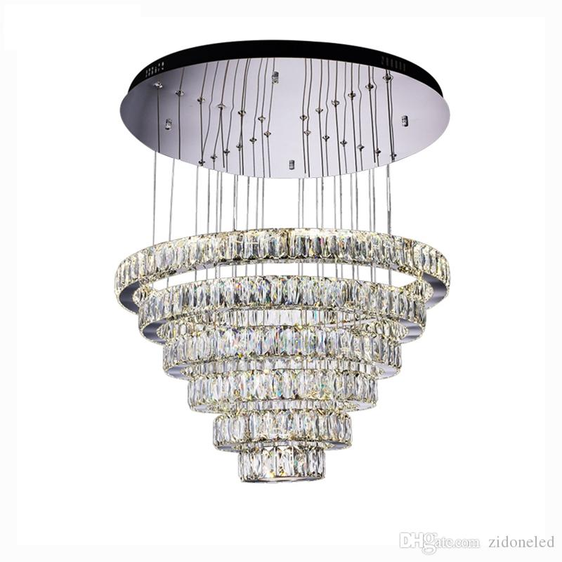 426878d912 Luxury Contemporary Crystal Pendant Lights K9 Crystal Chandeliers Lighting  With 6/8 Crystal Circulars D23.6