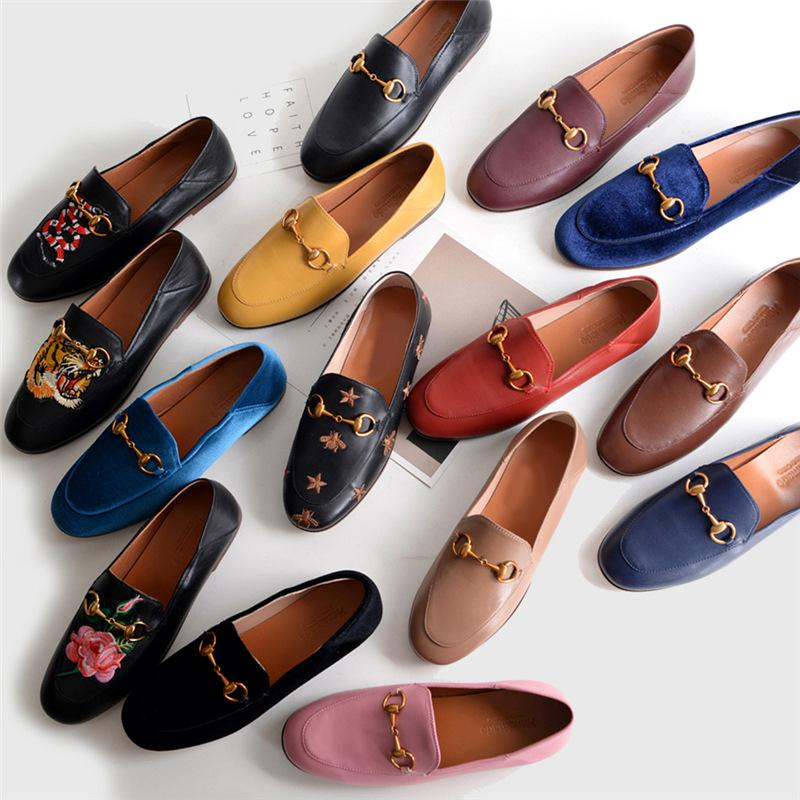 ae9353493a3 Women Fashion Genuine Leather Loafers Female Low Heel Flats Lady Embroidery  Tiger Head Shoes Women Wedding Shoes Mens Leather Boots Mens Shoes Online  From ...