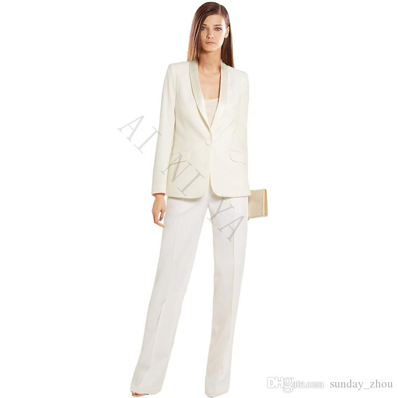 6d02fa27693 2019 Ivory Women S Business Suits Formal Office Pant Suits Female ...