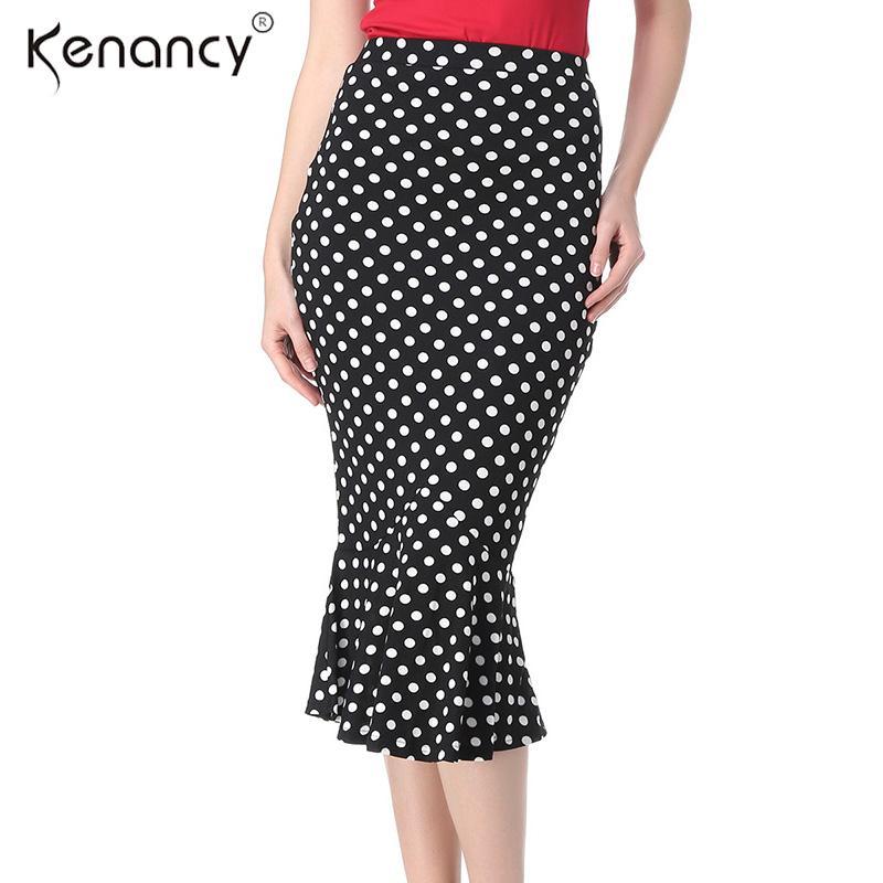 b8509b3b3 Kenancy 2018 moda nueva 2XL sirena falda midi mujeres OL cola de pez  elástica falda de cintura alta 4 colores Saia All-match Slim