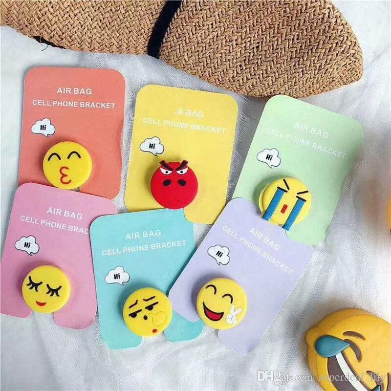 Silicone Emoji Holders Expansion Titulaire Stand Grip Clip Ring pour  SmartPhone Air Bag Support de téléphone portable