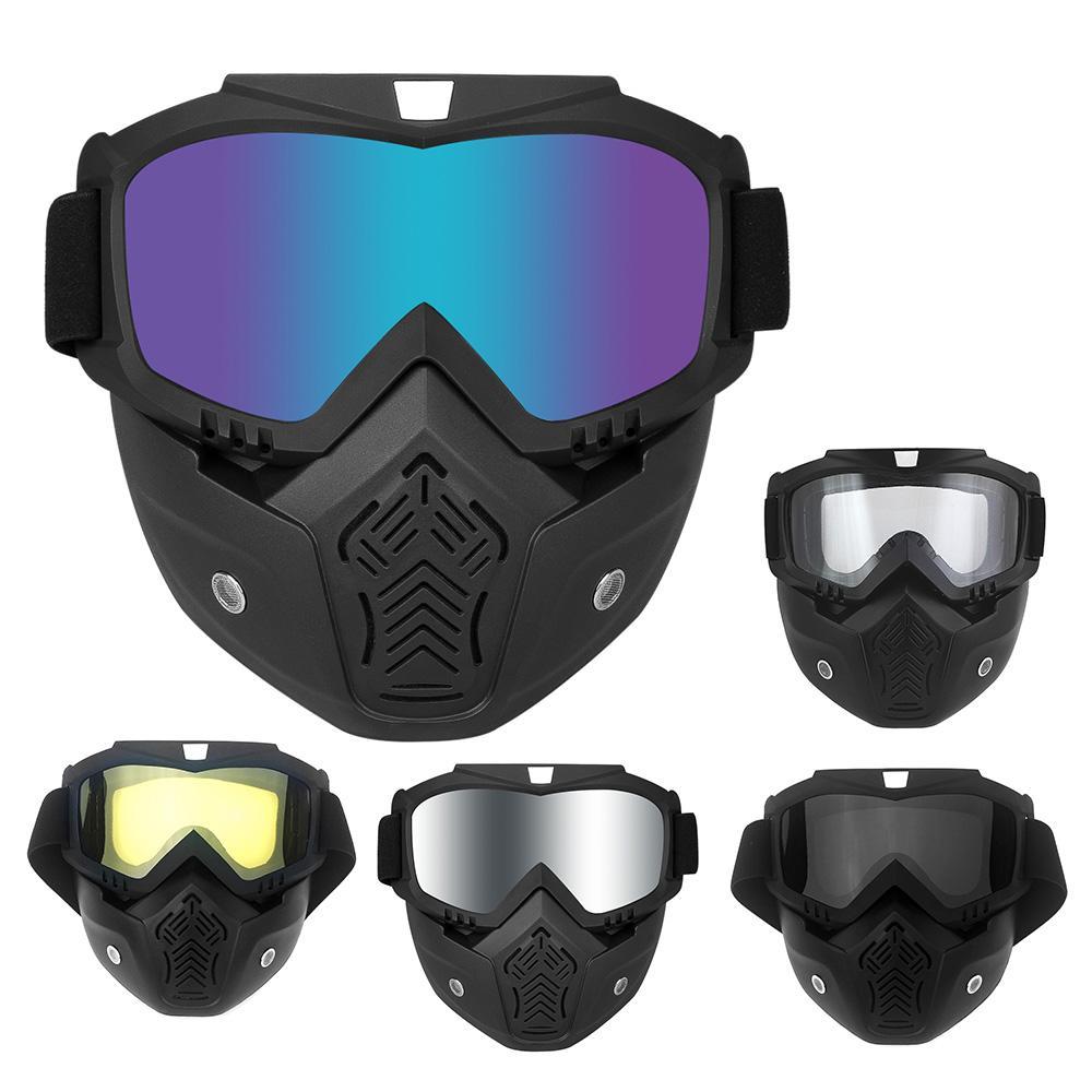 cec44699f4708 Compre Motocicleta Máscara Facial Capacete Óculos De Esqui Moto Motocross  Óculos Com Máscara Destacável Harley Estilo Moto Capacete Lente De Niumou,  ...