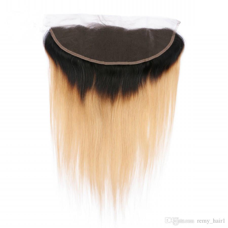 العسل شقراء أومبير العذراء الشعر ينسج مع الرباط أمامي إغلاق 13x4 مستقيم # 1B / 27 حزم أومبير الشعر الهندي الإنسان صفقات مع أمامي