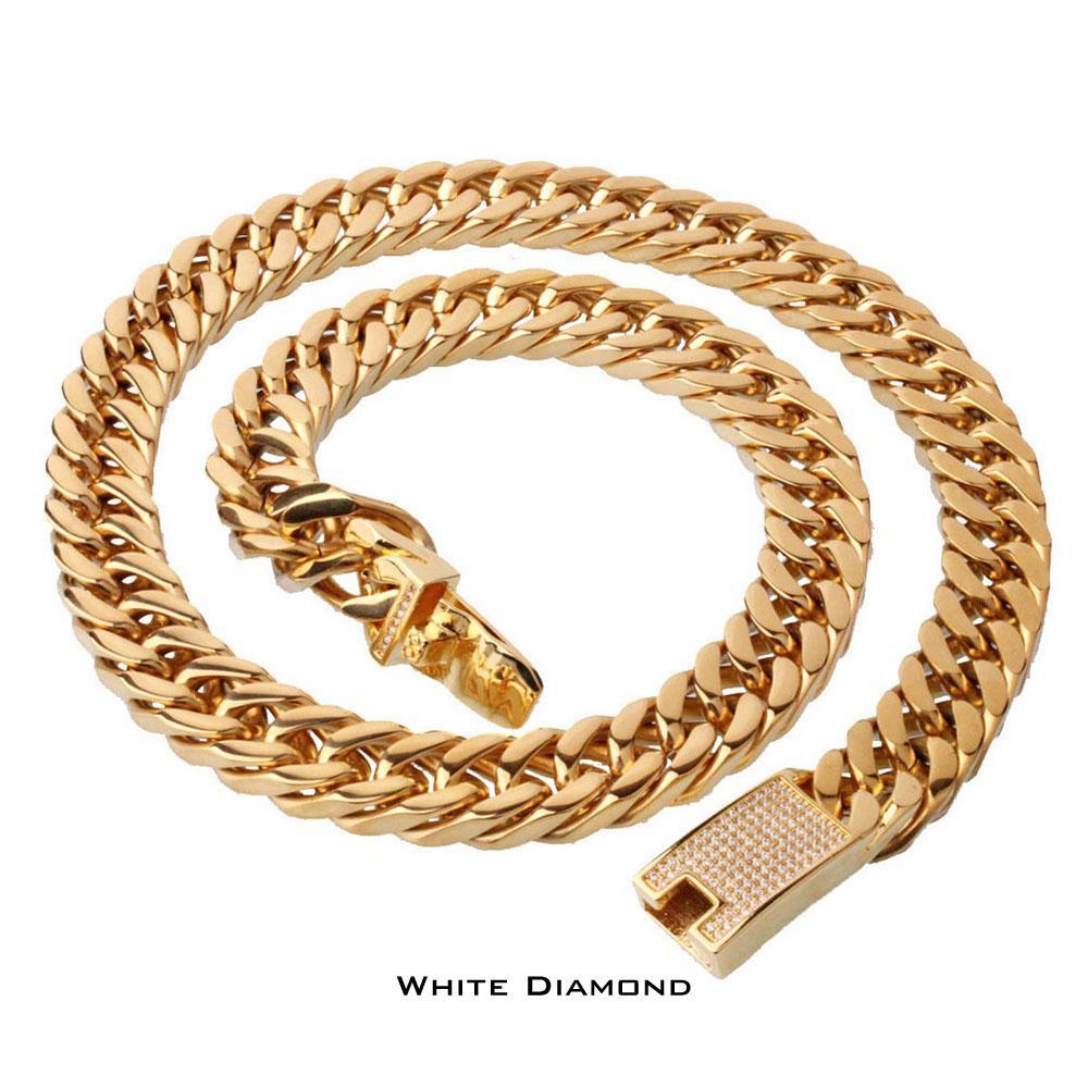Hohe Qualität Edelstahl Hochglanzpoliert Curb Cuban Link Halskette herren Punk Hip Hop Cool Ketten Mit Diamantverschluss 60 cm * 15mm