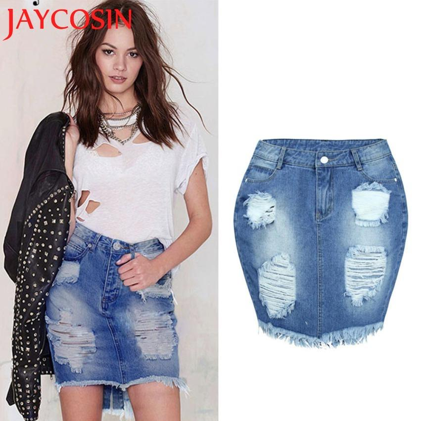 d8091917c2837c JAYCOSIN 2018 Femmes Denim Jupe Jeans Taille Haute Ripped Vintage Skinny  Courte Jupe Crayon Juillet 18