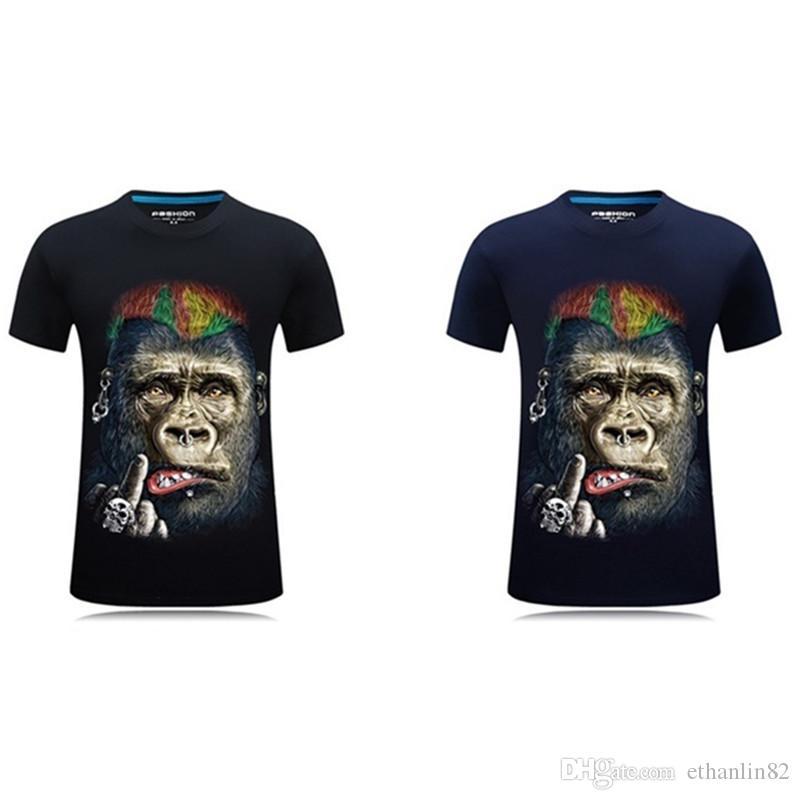 Compre 2018 Camiseta De Verano Para Hombre Con Estampado De Camiseta De  Manga Corta Con Cuello Redondo Camiseta Estampado De Gorila Divertido Para  Hombre ... 6835f006d0c