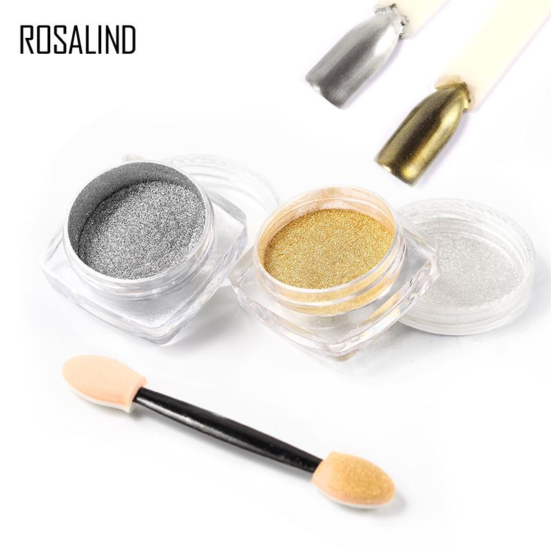 ROSALIND GoldSliver Magic Mirror Chrome Powder polvere per unghie in polvere metallica Stick di trucco Polvere Nail Art per Gel Polish Glier