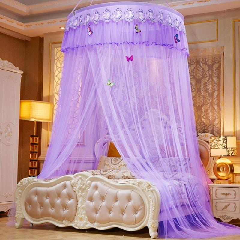 Hung Dome Mosquito Net Round Princess Mosquito Net Single Door Mosquito Net Canopy Bites Protect For Single Double King Bed Home & Garden