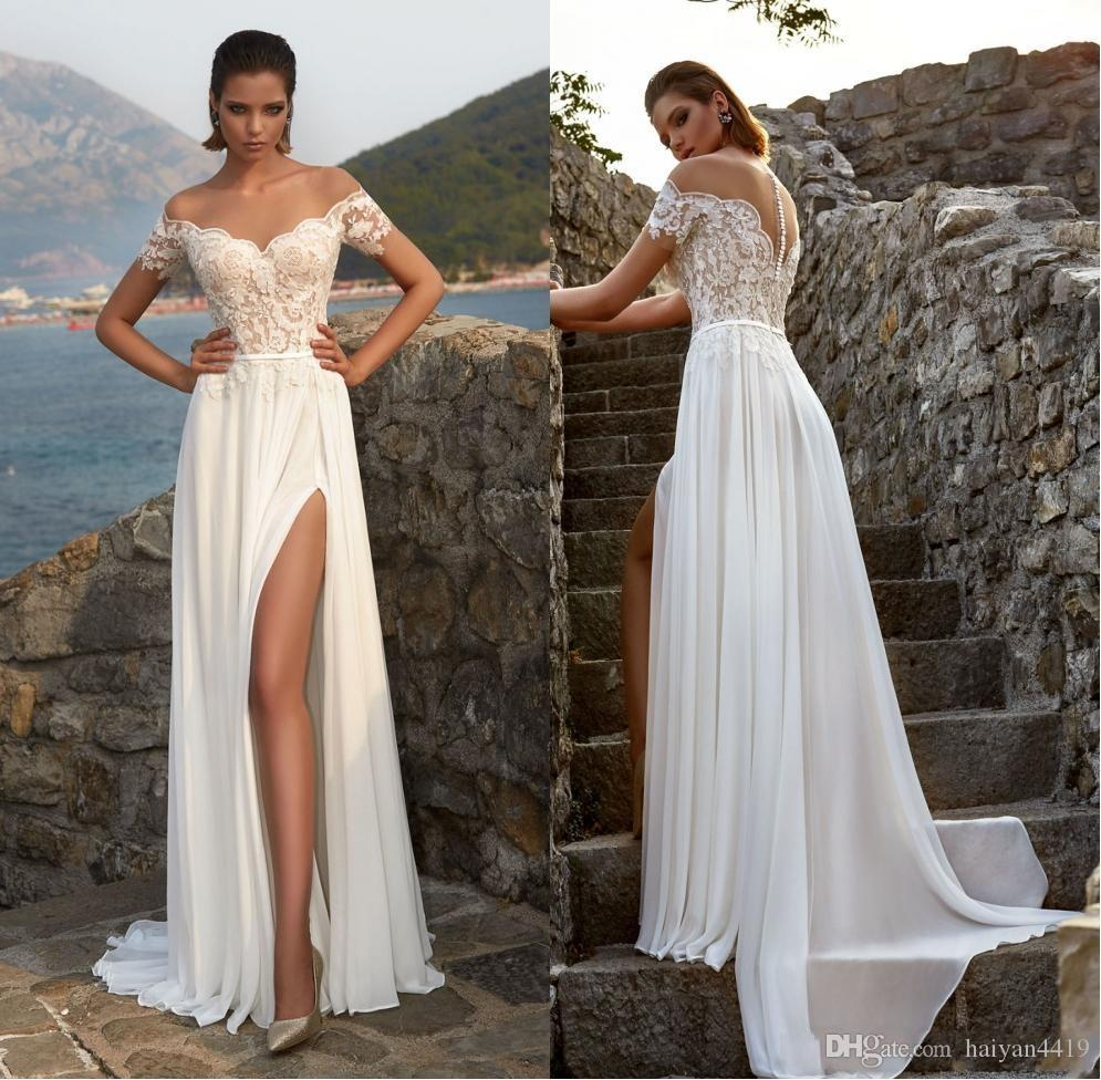 f5bed5737c Discount 2018 Bohemian Summer Beach A Line Wedding Dresses Sheer Neck Off  Shoulder Lace Applique Button Back Split Chiffon Sweep Train Bridal Gowns  Wedding ...