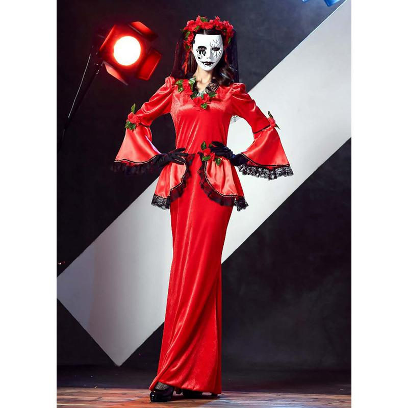 a01a75d8ae11 Halloween Adult Masquerade Party Red Ghost Bride Vampire Cosplay Dress Sexy  Ghost Costume Acting Costumes Group Costumes Halloween Group Girl Costumes  From ...