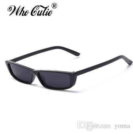 bb7f65c7e6f WHO CUTIE 90S Sunglasses Women Vintage Fashion Small Rectangular Frame  Black Red Cat Eye Sun Glasses Retro Skinny Shades OM497B Electric Sunglasses  Fastrack ...