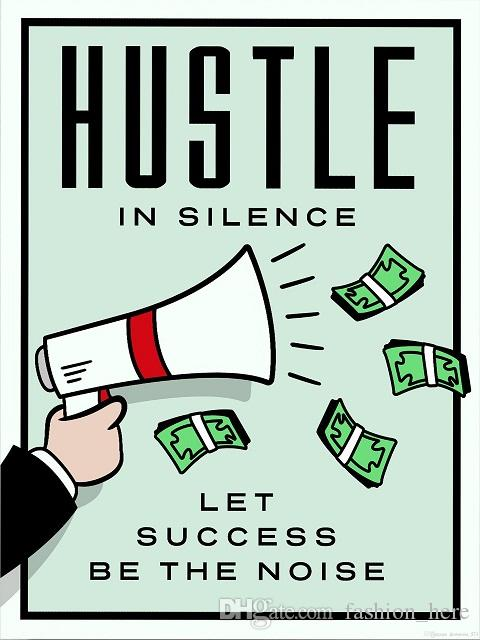 Alec Monopoly Hustle In Silence Handpainted /HD Print Cartoon Graffiti Pop Art Oil Painting on Canvas office culture Multi Sizes /Frame 212