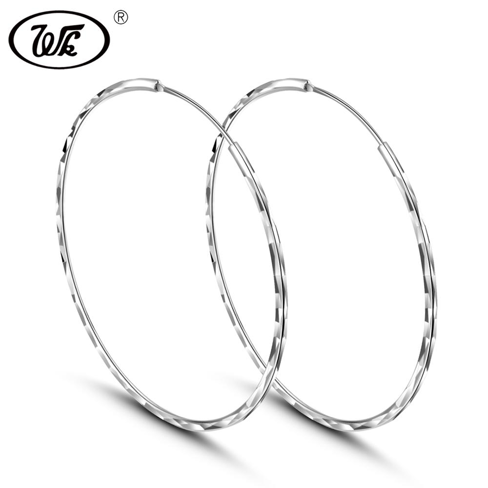 ebc61c89a 2019 WK Real 925 Silver Round Circle Hoop Earrings Jewellery For Women Thin  Small Big Hoops 25MM 30MM 35MM 45MM 50MM 55MM W4 ED009 From Shanqingmou, ...