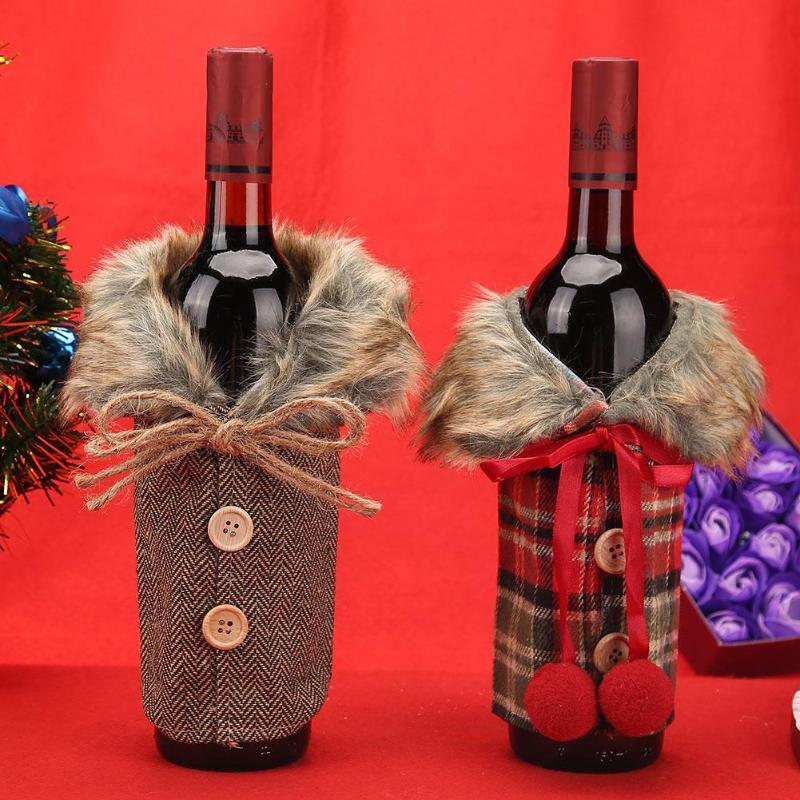 christmas wine bottle cover bag bowknot party bottle decor set for new year xmas noel home dinner table decorations supplies stockings gift holders cheap