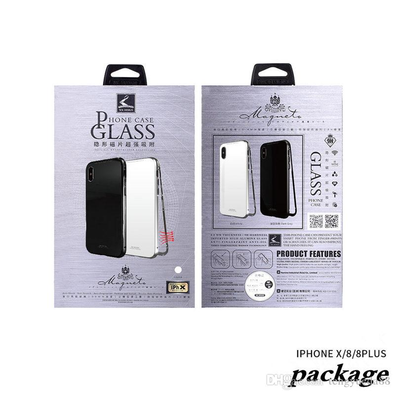 Newest Design Magneto Metal+Toughened Glass Full Body Protection Case for iphone X 7/8 plus Metal Edge Back Cover