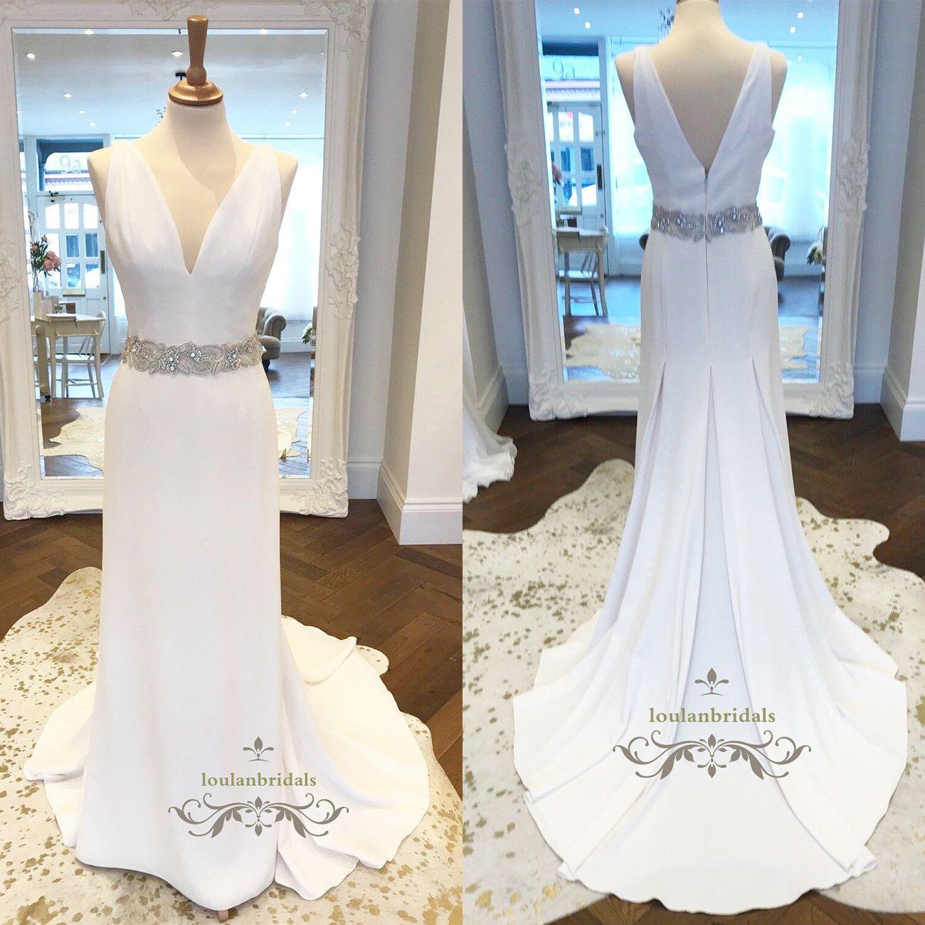 Gorgeous Crepe Column Wedding Dress With Embellished Waistline ...