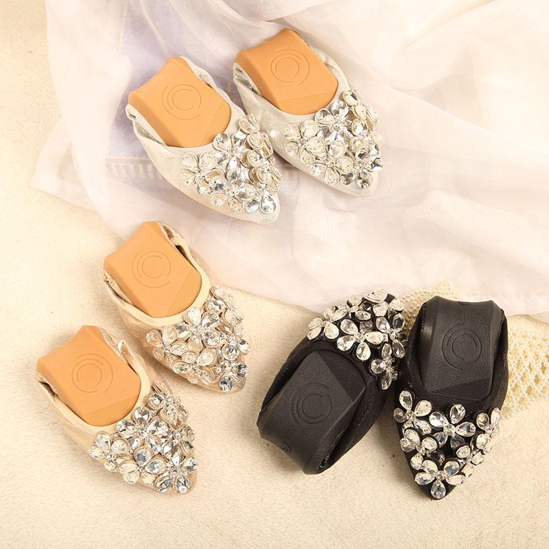 a1cdefee9c2bdb Plus Size Ladies Flat Shoes Fashion Bling Butterfly Rhinestone Women Flats  Casual Leather Ballet Flats Fold Up Gold Shoes 4153 Mens Dress Shoes  Platform ...