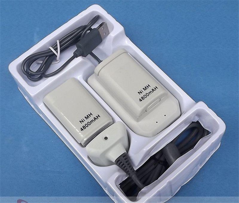 Carregador USB Cabo para XBOX 360 Wireless Controller + 2 Bateria Recarregável