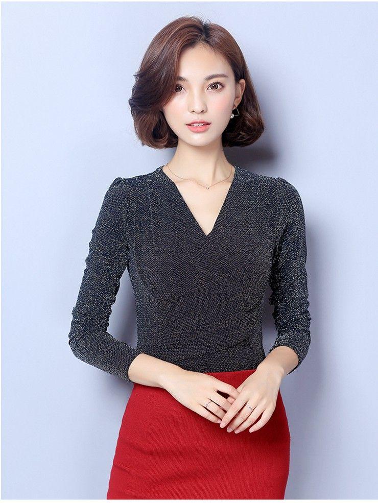 Kadın Bluz 2018 Moda Kış Sonbahar Üstleri Bayanlar Rahat V Yaka Uzun Kollu Femme Gömlek Büyük Boy Blusas Femininas D0681