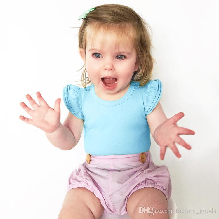 Meninas do bebê Macacão de Algodão Verão Macacões Crianças Cor Sólida Manga Curta Triângulo Bodysuits Para Crianças Fábrica de Roupas Livre DHL 695