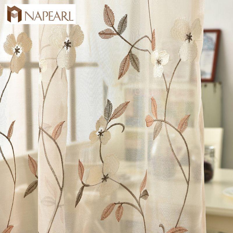 Finestra ricamata Tende Tende fiore tulle per tende per soggiorno Tende  moderne design floreale trasparente