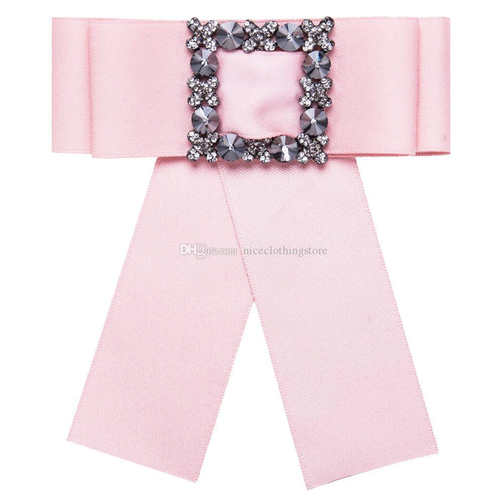 Fashion Crystal Flower Bowknot Cloth Bow Brooches for Women Clip Up Pins Collar Party Tie