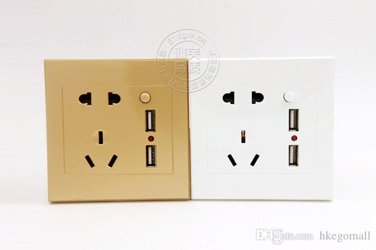 Wall Electrical Universal Plug Standard Faceplate Socket Double 2