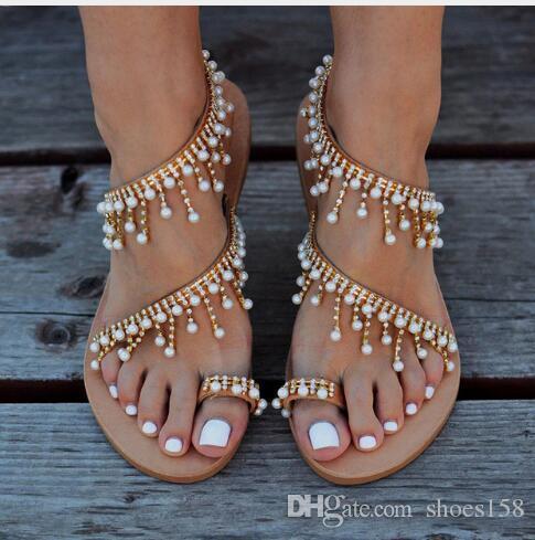 0c2692de0d8b Summer Women Sandals Flat Heels Fashion Sweet Girls Shoes String Bead Beach  Shoes Female Comfortable Sandals Shoes Uk Flat Sandals From Shoes158