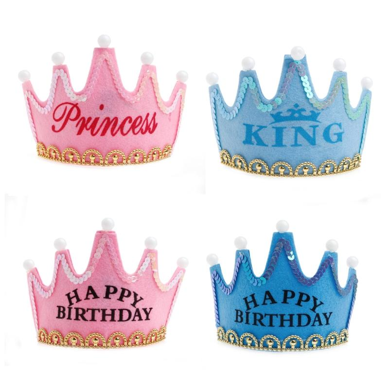 Prince Princess Crown Birthday Party Hats LED Light Up Cap Children Kids Adult Enhance Atmosphere Ladybug Supplies Led Hat From Hymen
