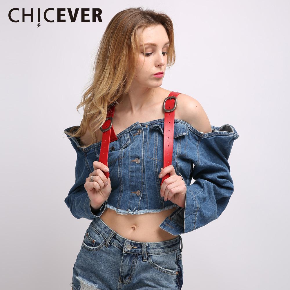 CHICEVER Сексуальная с плеча джинсовая куртка джинсовые куртки для женщин пальто с длинным рукавом подтяжки растениеводство топ корейский большой размер осень