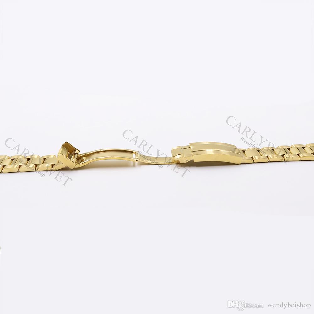 CARLYWET 20mm Two Tone Rose Gold Argento nero solido ricurvo Fine collegamenti a vite Nuovo stile Glide Lock Clasp Bracciale cinturino in acciaio
