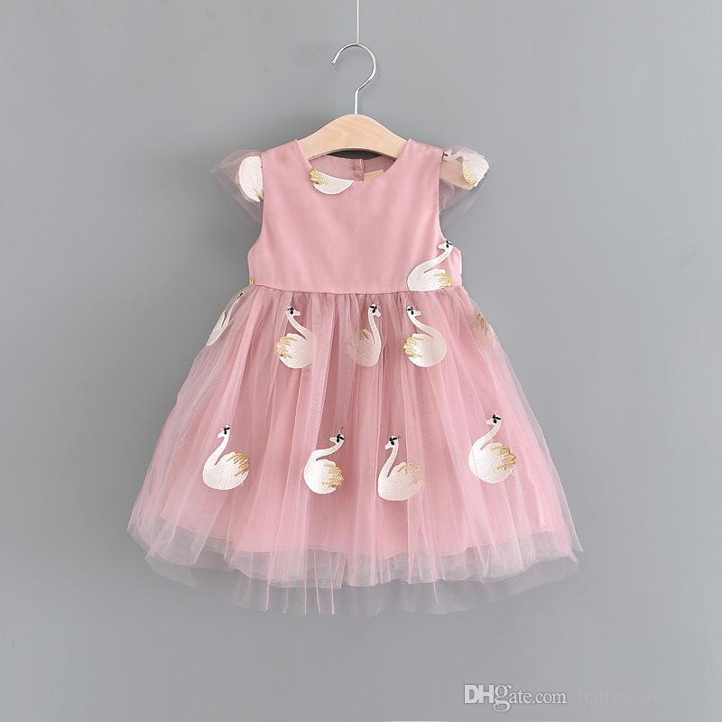 8484bf781ae 2019 Kids Dresses 2018 Summer Embroidery Swan Design Baby Dress Princess  Party Dress Baby Girl Clothes Cute Girls Dresses Toddler Girl Clothes From  ...