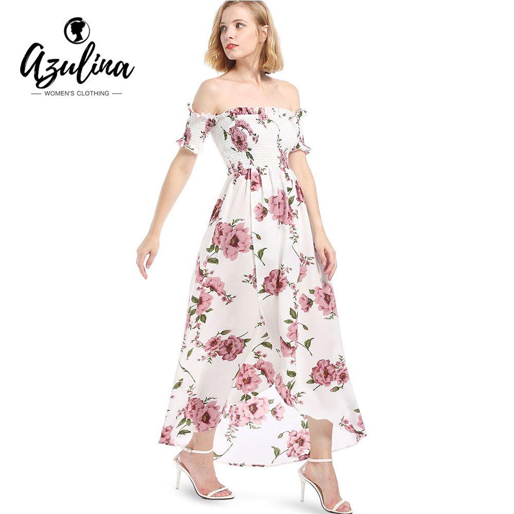 8ce022f8c Compre 20187 AZULINA Vestido De Gasa De Las Mujeres Del Hombro De Manga  Corta Con Estampado Floral De La Raya Vestido Maxi Alta Baja Vestidos  Largos De ...