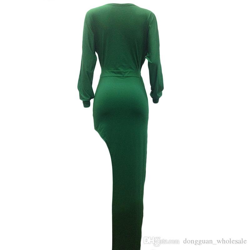 Fashion Popular Women Summer Dress V Neck Full Sleeve Bodycon Evening Sexy Dress Cut Out Maxi Dress LM1013