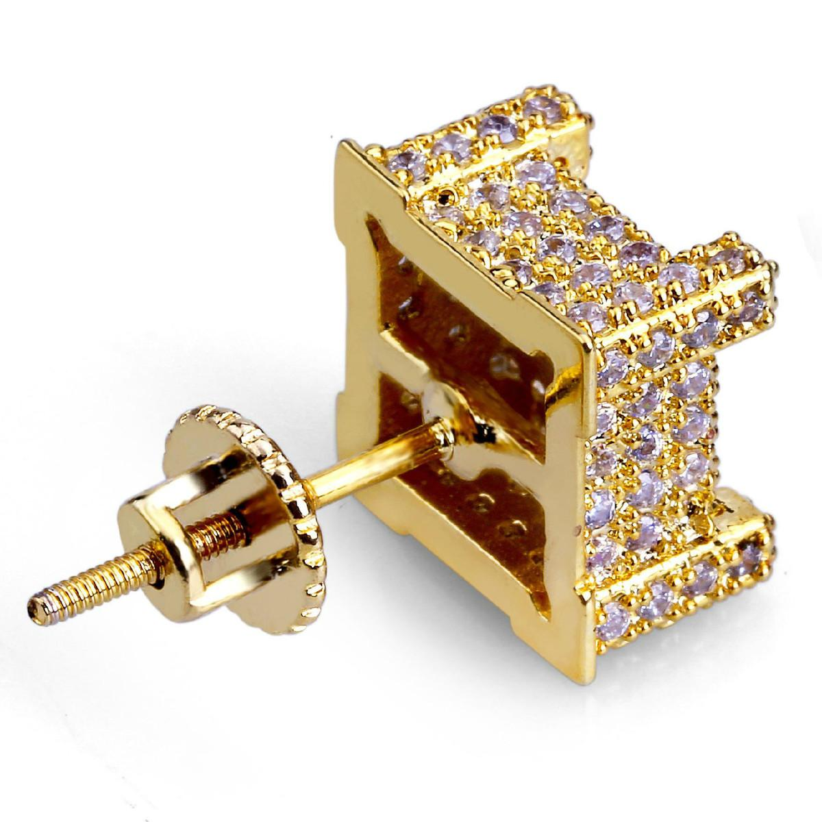 29623b0dc 2019 On Sale Hiphop Men Gold Earring Micro Pave Cz Rhinestone Crystal Square  Shape Stud Earrings Studs For Women Jewelry Gifts From Haoyun51828, ...