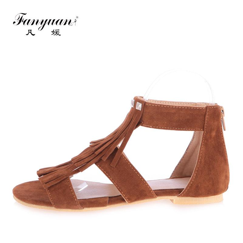 Wholesale Flat Shoes Women Fringe Ankle Strappy Sandals Ladies Fretwork  Summer Footwear Zipper Gladiator Sandals Brown Beach Shoes Men Sandals  Heeled ...