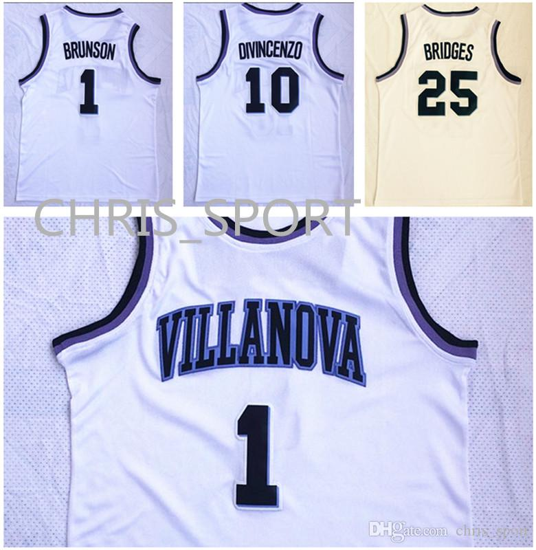 23175cad3547 2019 Villanova College Basketball Jerseys Wildcats Player  1 Jalen Brunson  10 Donte DiVincenzo 25 Mikal Bridges White Game Uniform From Chris sport
