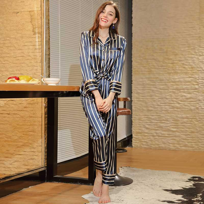 2019 Autumn Women Long Sleeve Striped Pajamas Sets Long Pants Slik Satin  Sleep Wear Set Sleep Clothing Loungewear Night Suit From Bevarly 690efea81