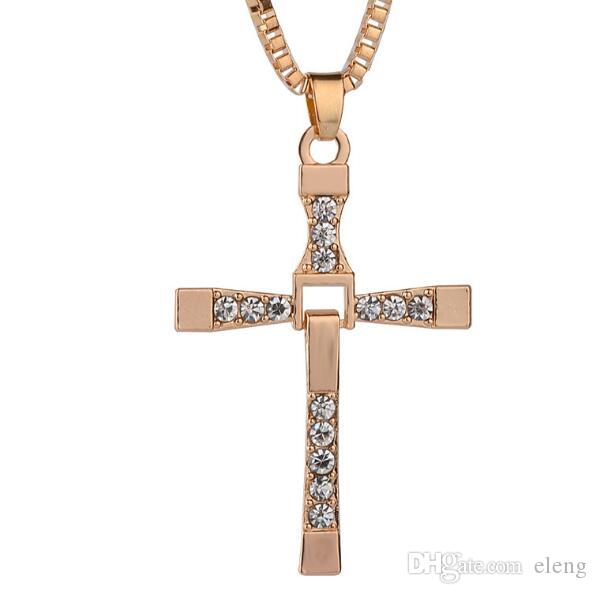 High Quality Free Shipping FAST and FURIOUS Dominic Toretto's Cross Pendant Necklace Titanium Steel Free With box Chain 545