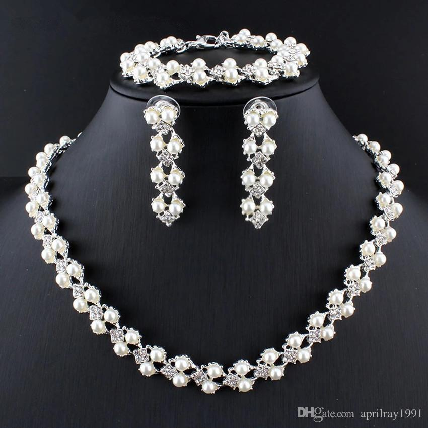 2018 New Elegant Women Imitation Pearl Jewelry Sets Silver Necklace