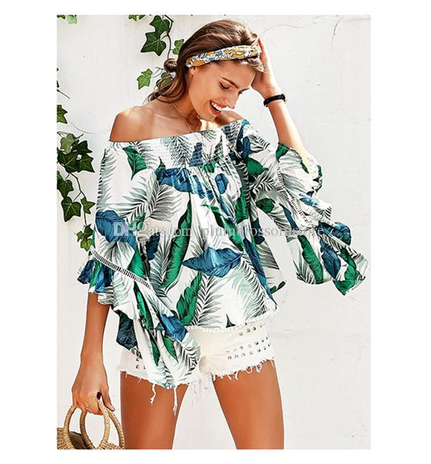 33a34ff01b0b8 2019 Off Shoulder Tropical Print Sexy Blouse Women Flare Sleeve Ruffle  Casual Bohemian Beach Holiday Blouse Shirt 2018 Summer Beach Smock Top From  ...