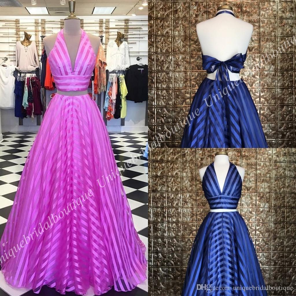 22a6b4f3c Compre Vestidos De Fiesta Largos Con Cuello En V De Halter A Rayas 2k18  Vuelco En V Con Cuello En Pico De Dos Piezas Vestido Con Diseño De Color Rosa  Azul ...