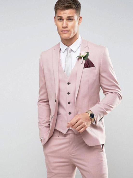 17227bbd024f35 Tailor Made Luz Rosa Homens Terno Slim Fit Groom Prom Partido Blazer Traje  Casamento Homme Masculino Tuxedo 3 pcs (Jacket Pants Vest)