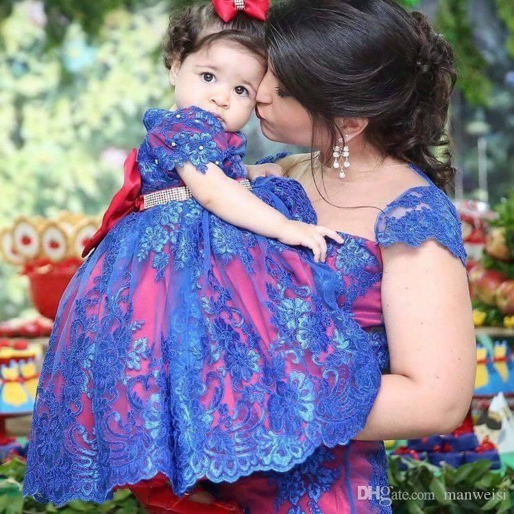 db84cd8279a Red Blue Lace Flower Girl Dresses With Beaded Sash Toddler Pageant Dress  Boho Beach Wedding Short Sleeve Little Baby Gowns For Communion Black  Dresses For ...